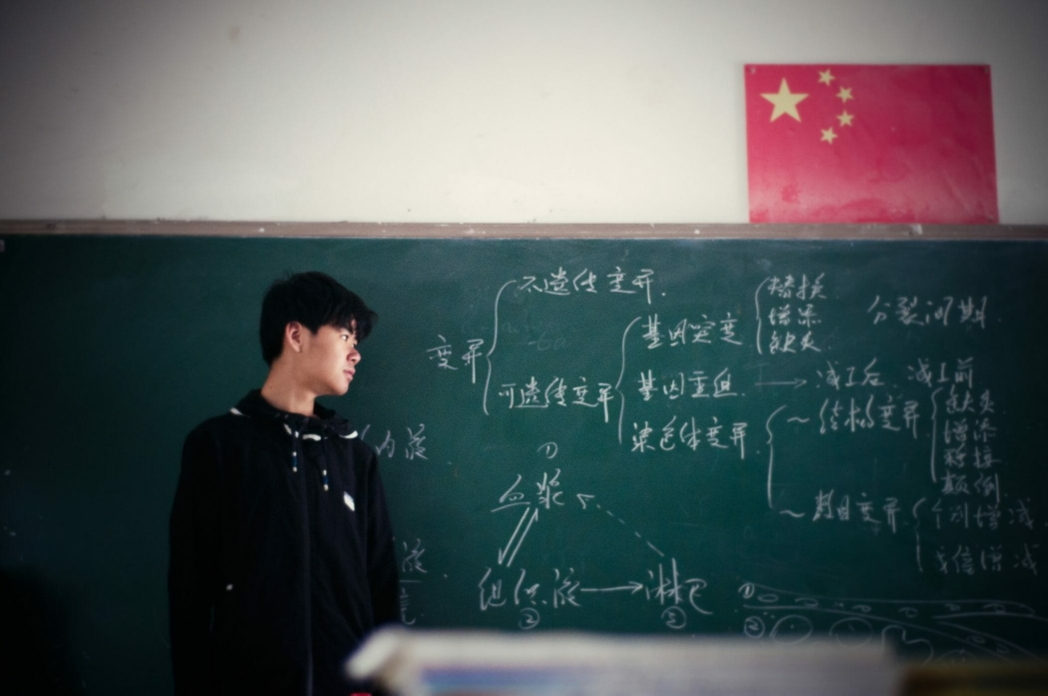 chinese student stands in front of chalkboard