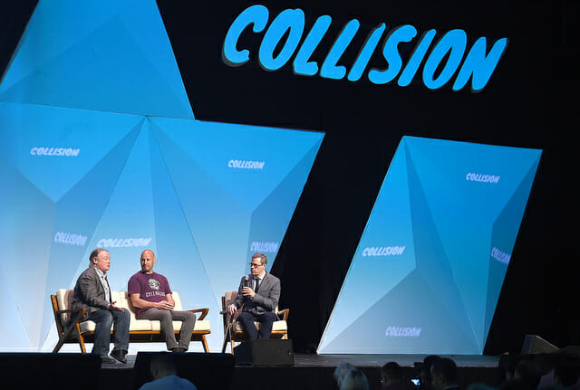 Behlendorf, Lubin and Rosenbush, a bunch of blockchain people, at Collision 2018