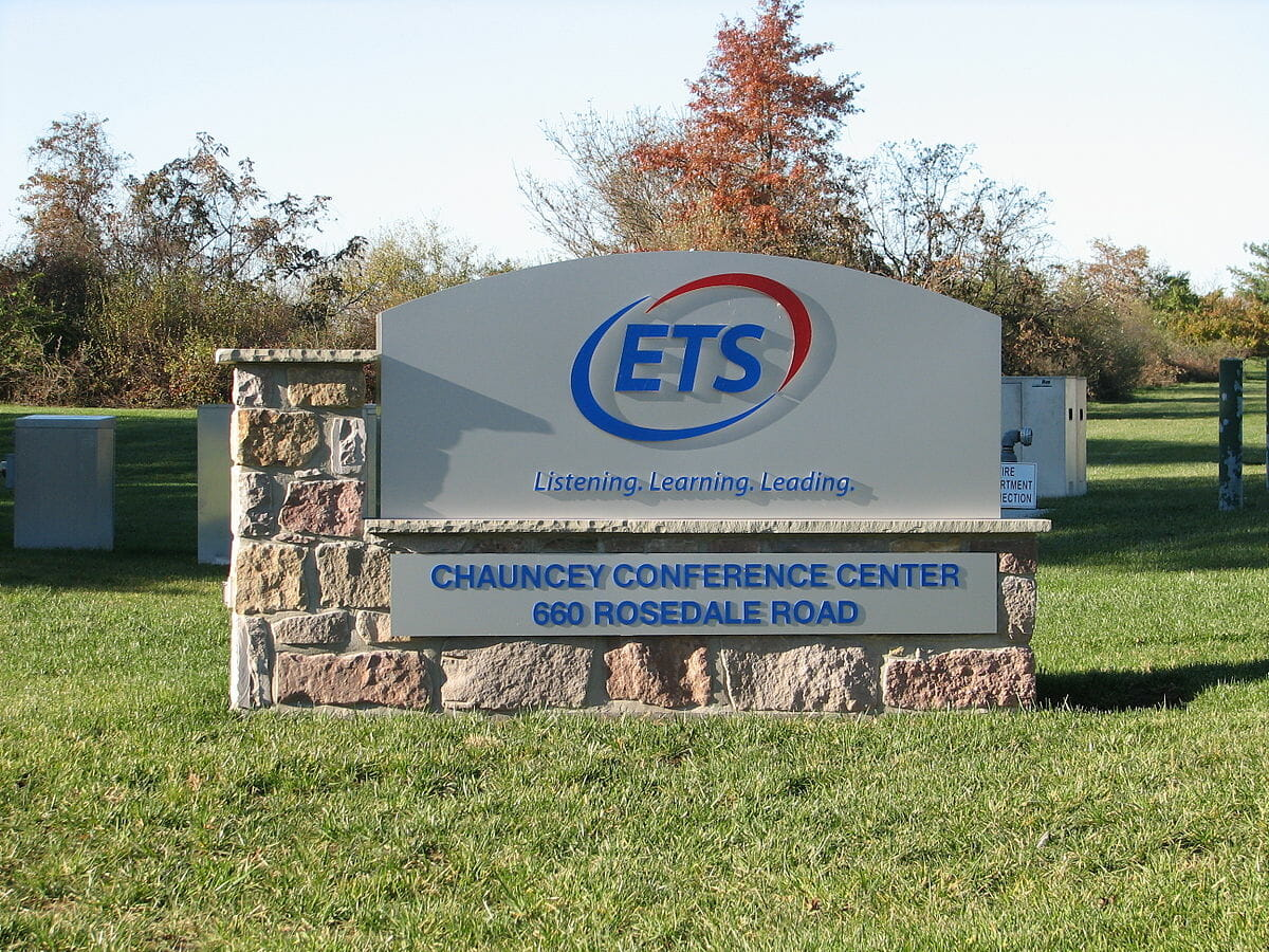 The welcome sign at ETS' headquarters in Princeton, NJ.