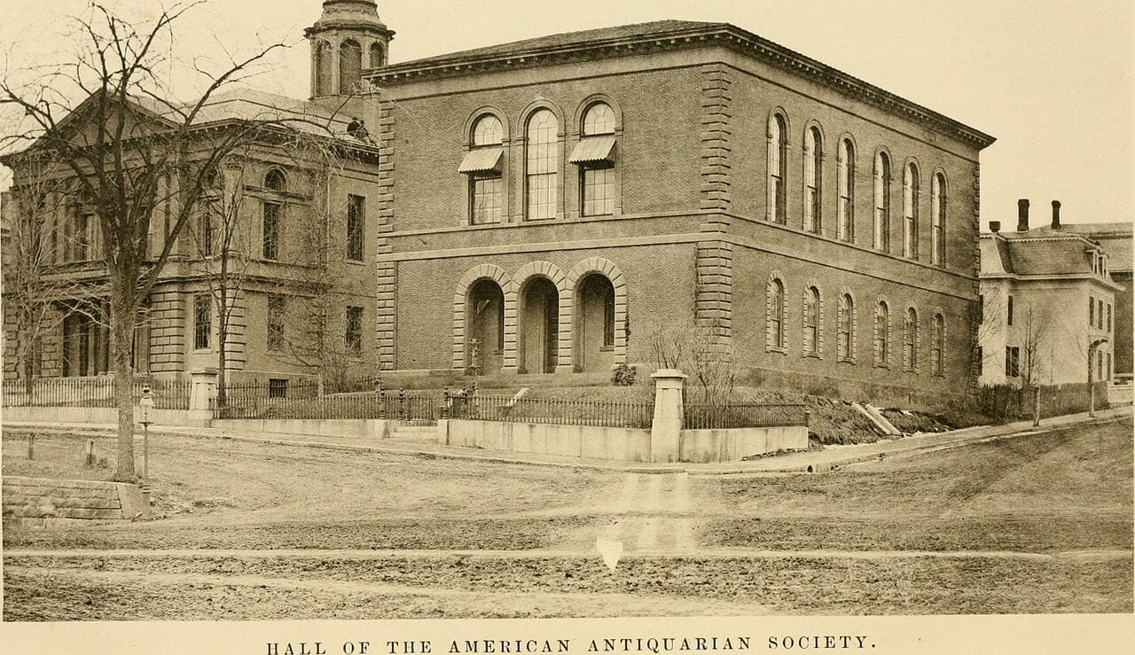 vintage photograph of the AAS headquarters in Worcester, Mass.