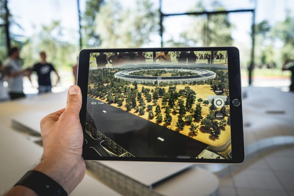 a tablet shows an augmented reality view