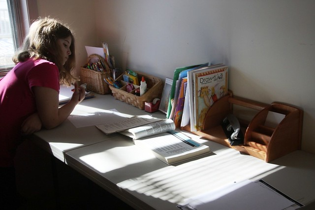 A homeschooling student gets to work.
