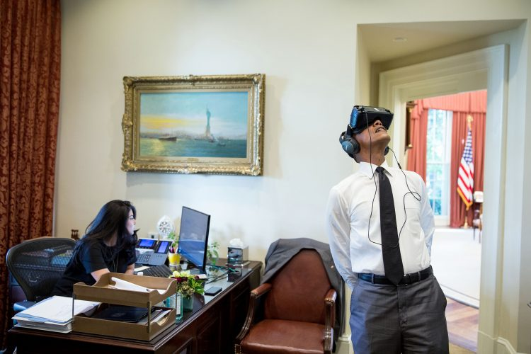 Former President Barack Obama takes a trip through Yosemite National Park from the White House via VR in 2016. Pete Souza.