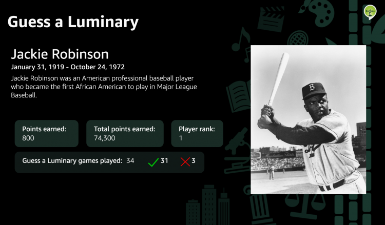 A screenshot of the new Bamboo Learning Luminaries series featuring Jackie Robinson.