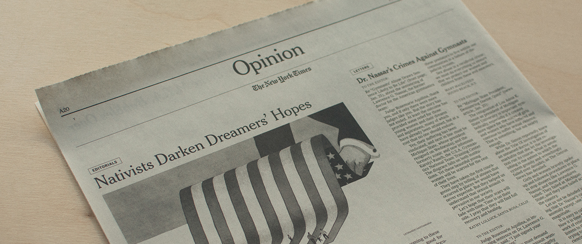 A shot of the New York Times' opinion section.
