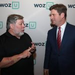 "Steve Wozniak discusses Woz U with U.S. Rep. Greg Stanton (then mayor of Phoenix) at ""An Evening of Innovation and Celebration."""