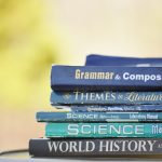 a stack of books commonly used by students